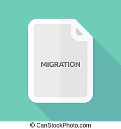 Long shadow document with the text MIGRATION - Illustration...