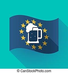 Long shadow EU flag with a beer jar icon