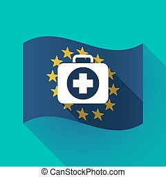Long shadow EU flag with a first aid kit icon