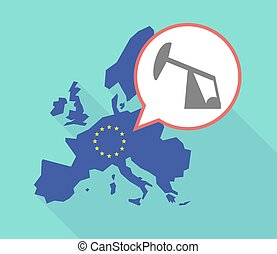 Long shadow EU map with a horsehead pump - Illustration of a...