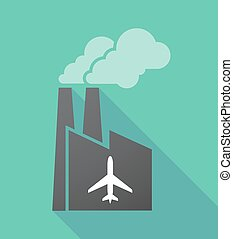 Long shadow factory with a plane - Illustration of a long...