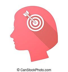 Long shadow female head with a dart board