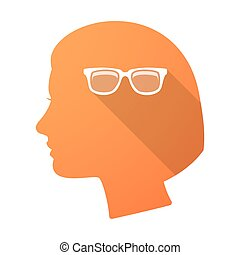 Long shadow female head with a glasses
