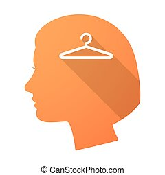 Long shadow female head with a hanger