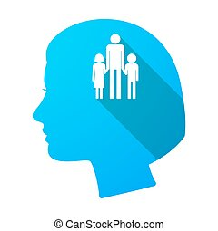 Long shadow female head with a male single parent family pictogram