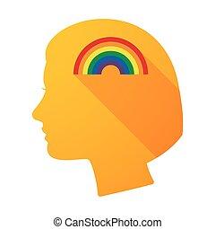 Long shadow female head with a rainbow