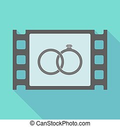 Long shadow film frame with  two bonded wedding rings