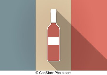 Long shadow flag of France vector icon with a bottle of wine