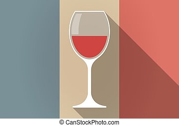 Long shadow flag of France vector icon with a cup of wine