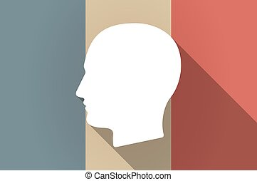 Long shadow flag of France vector icon with a male head