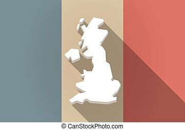 Long shadow flag of France vector icon with a map of the UK
