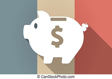 Long shadow flag of France vector icon with a piggy bank