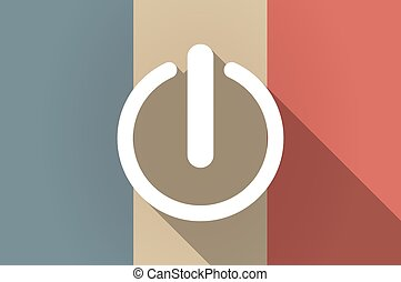 Long shadow flag of France vector icon with an off button