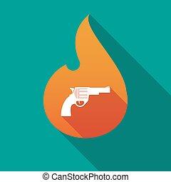 Long shadow flame with a gun