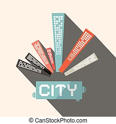 Long Shadow Flat Design City Vector Illustration