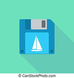 Long shadow floppy icon with a ship