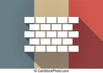 Long shadow France flag with  a brick wall