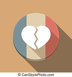 Long shadow France flag with a broken heart