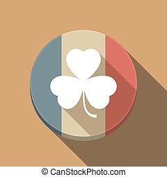 Long shadow France flag with a clover