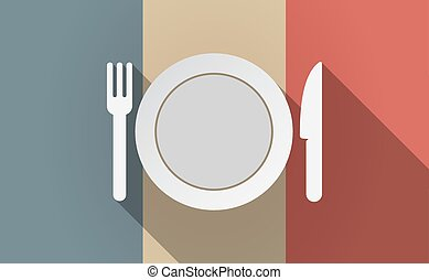 Long shadow France flag with a dish, knife and a fork icon
