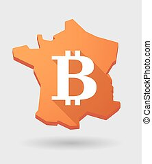 France map icon with a bitcoin sign