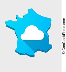 France map icon with a cloud sign