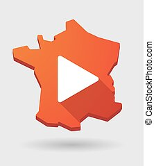 France map icon with a play sign - Long shadow France map ...