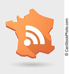 France map icon with a rss sign