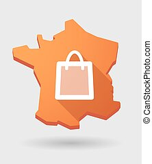 France map icon with a shopping bag