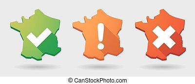 long shadow France map survey icon set