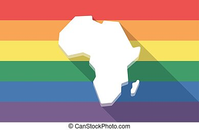Long shadow gay pride flag with  a map of the african continent