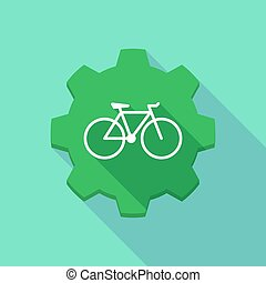 Long shadow gear icon with a bicycle
