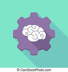 Long shadow gear icon with a  brain