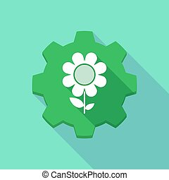 Long shadow gear icon with a flower