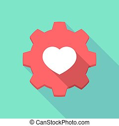 Long shadow gear icon with a heart