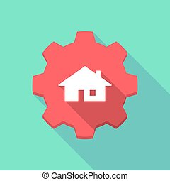 Long shadow gear icon with a house