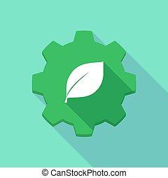 Long shadow gear icon with a leaf