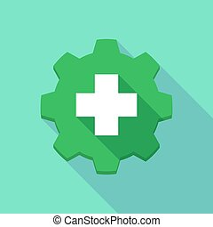 Long shadow gear icon with a pharmacy icon