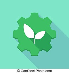 Long shadow gear icon with a plant