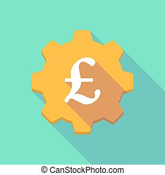 Long shadow gear icon with a pound - Illustration of a long...