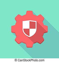 Long shadow gear icon with a shield