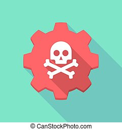Long shadow gear icon with a skull