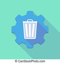 Long shadow gear icon with a trash can