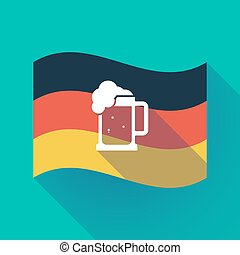 Long shadow Germany flag with a beer jar icon