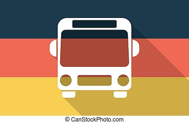 Long shadow Germany flag with  a bus icon