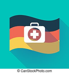 Long shadow Germany flag with a first aid kit icon