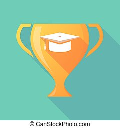 Long shadow gold award cup with a graduation cap