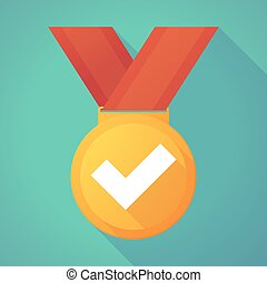 Long shadow gold medal with a check mark