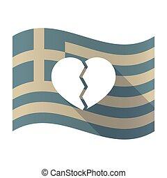 Long shadow Greece flag with a broken heart