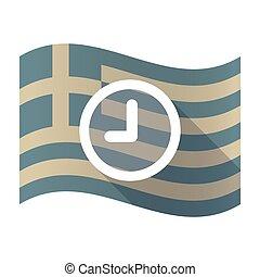 Long shadow Greece flag with a clock